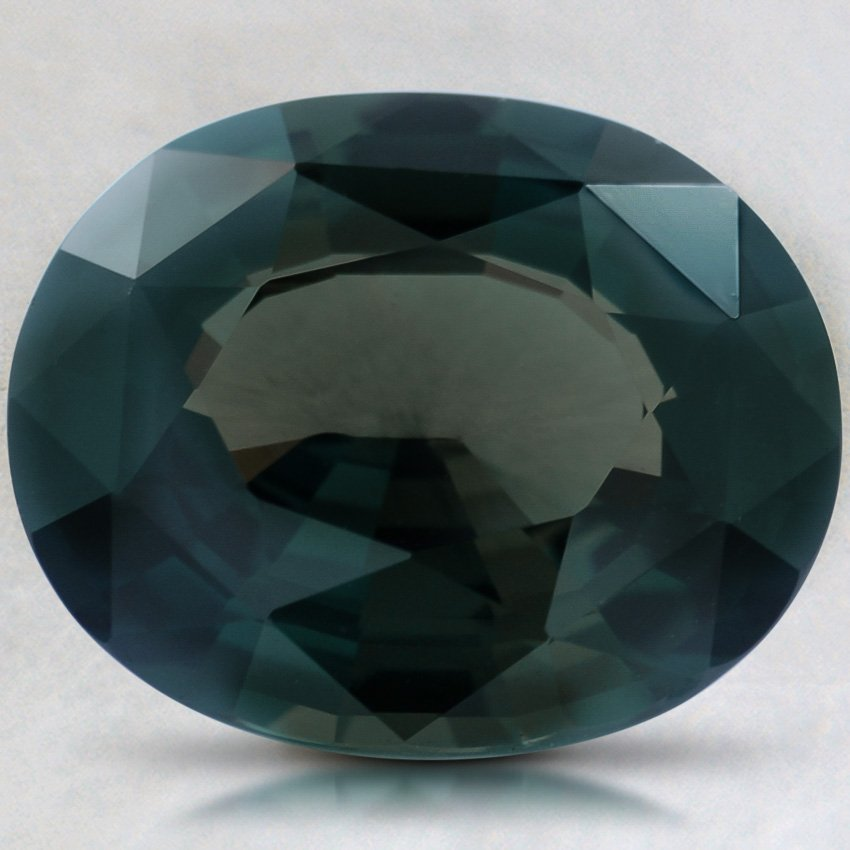 10.5x8.5mm Teal Oval Sapphire, top view