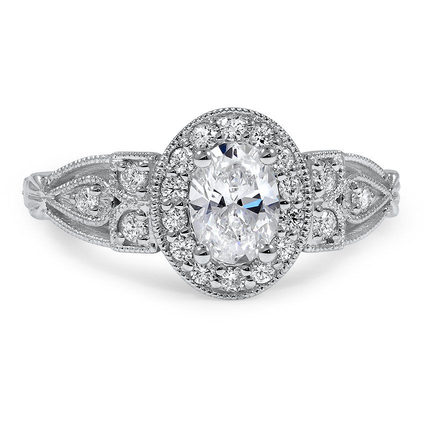 Custom Antique Designed Oval Halo Diamond Ring