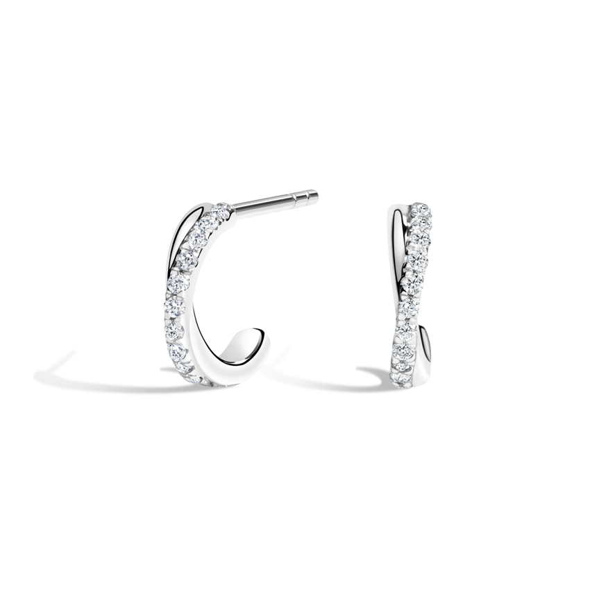 Pavé Diamond Twist Huggie Earrings