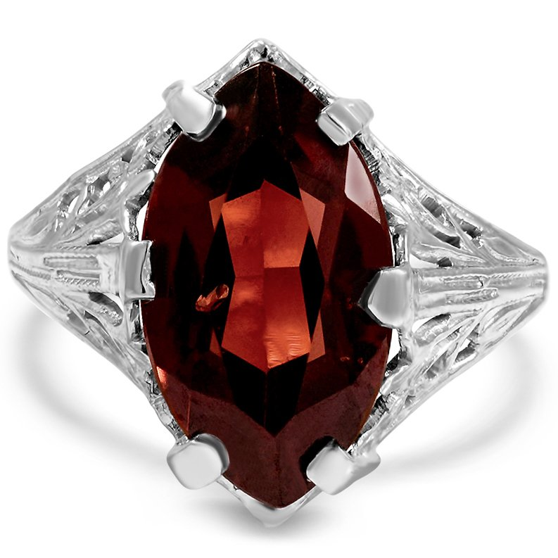 Edwardian Garnet Cocktail Ring