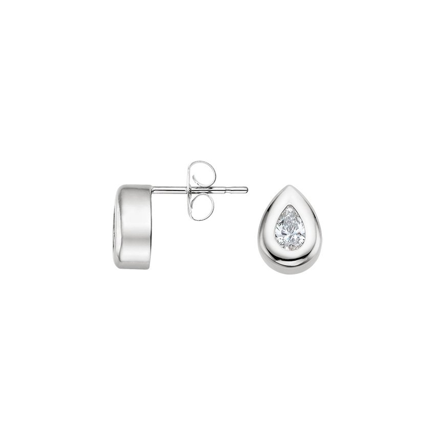 18K White Gold Pear Bezel Diamond Stud Earrings (1/2 ct. tw.), top view
