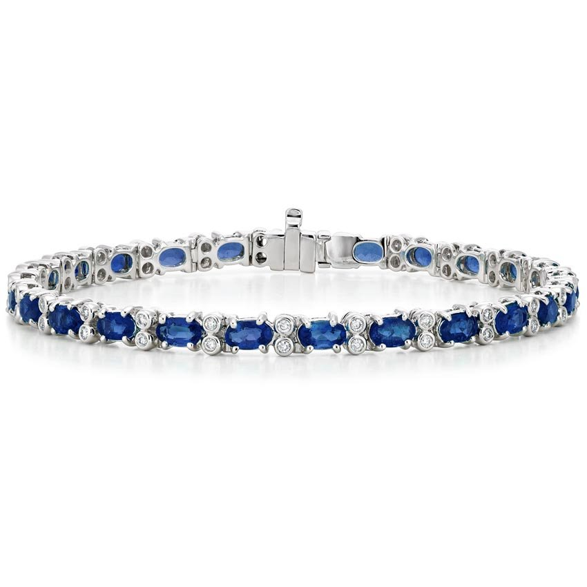 18k White Gold Azura Sapphire And Diamond Bracelet 1 2 Ct
