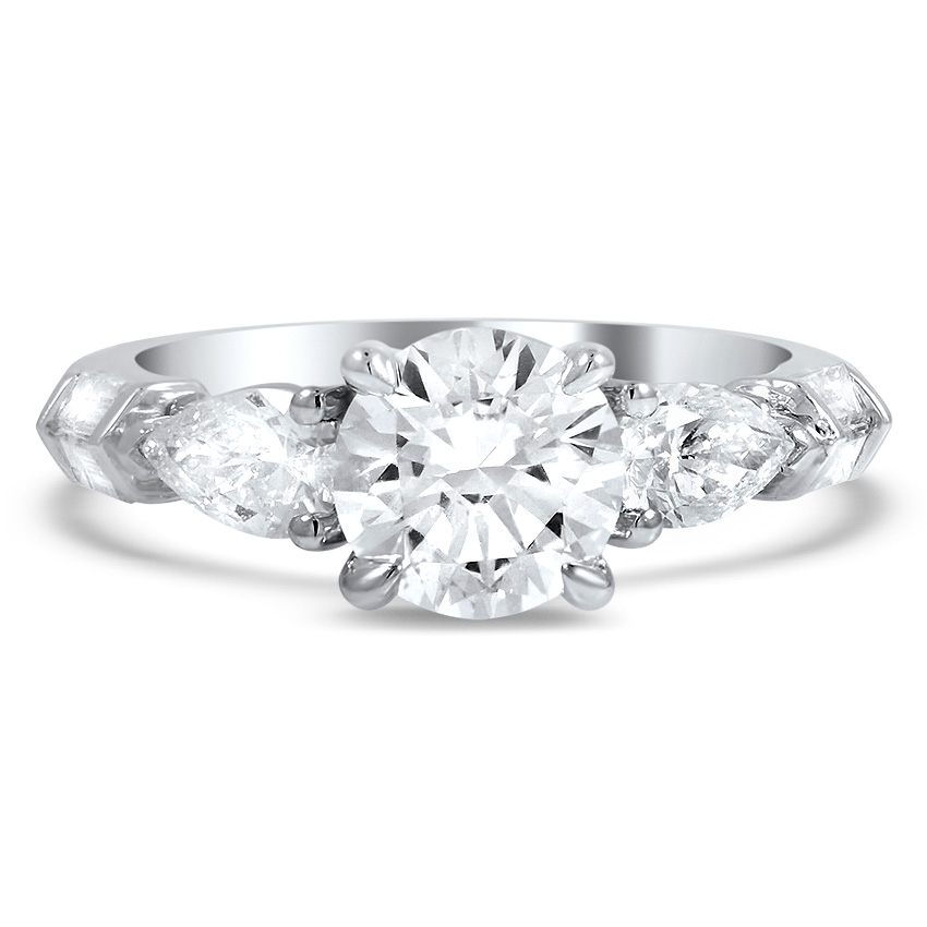Custom Round and Pear-Shaped Three Stone Diamond Engagement Ring