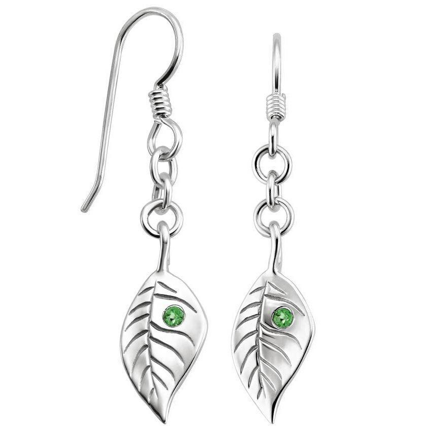 Top Twenty Holiday Gifts - SILVER TOURMALINE LEAF EARRINGS