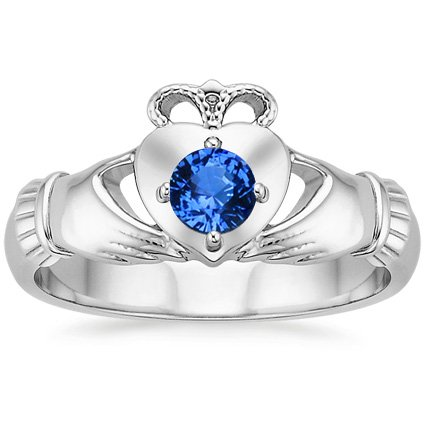 18K White Gold Claddagh Sapphire Ring, top view