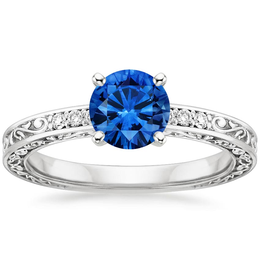 Platinum Sapphire Delicate Antique Scroll Diamond Ring, top view
