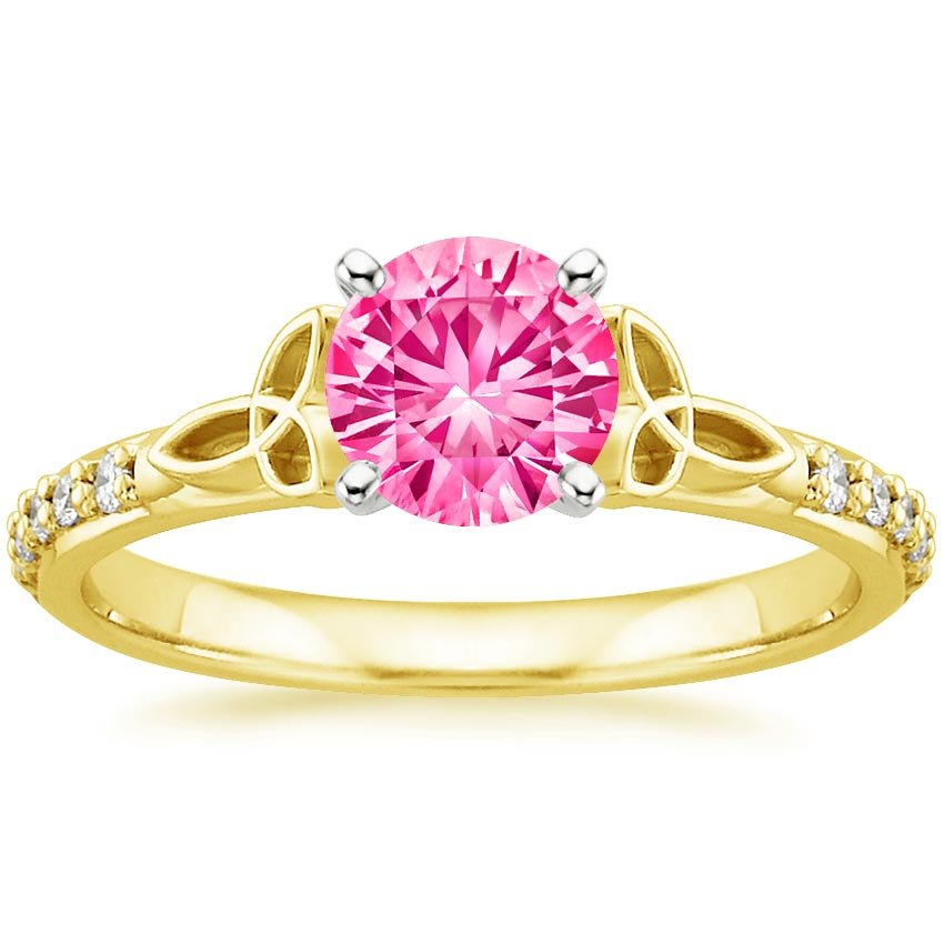 Sapphire Luxe Celtic Love Knot Ring in 18K Yellow Gold with 6mm Round Pink Sapphire