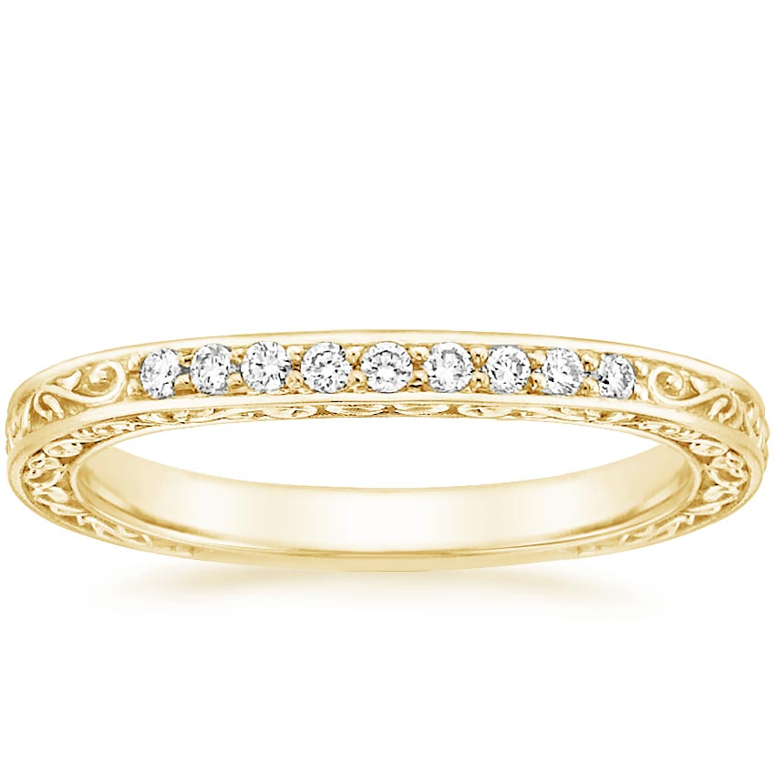 Yellow Gold Delicate Antique Scroll Contoured Diamond Ring (1/15 ct. tw.)