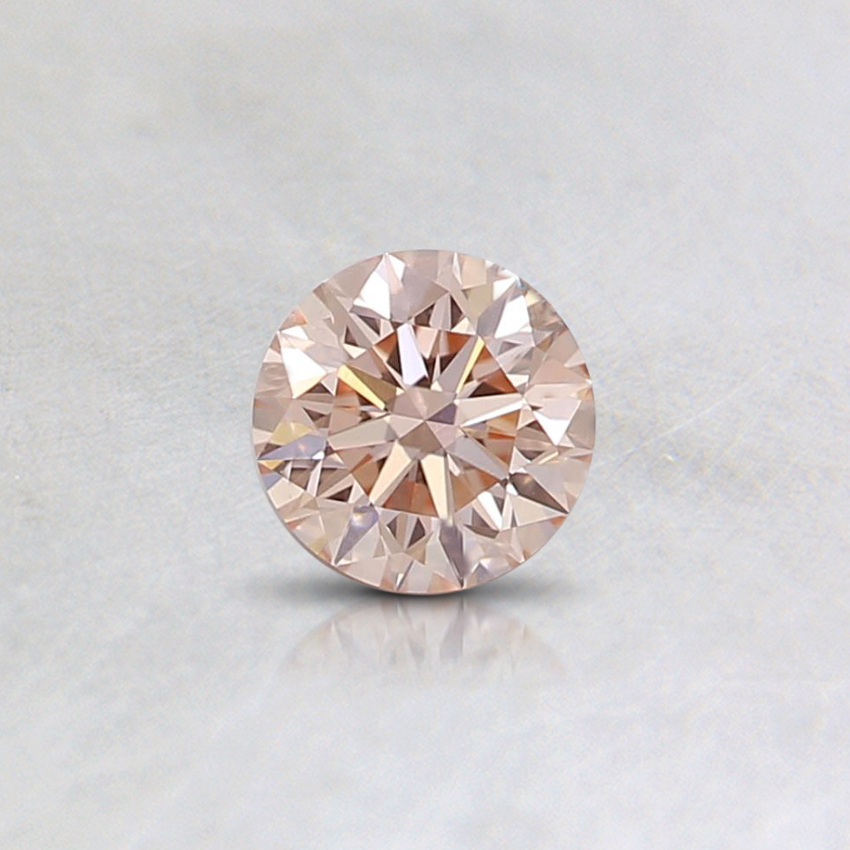 0.30 Ct. Fancy Light Orangy Pink Round Lab Created Diamond