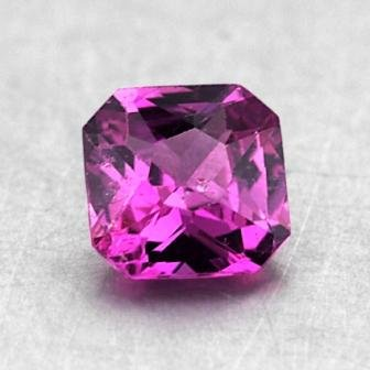 5.5mm Pink Radiant Sapphire, top view