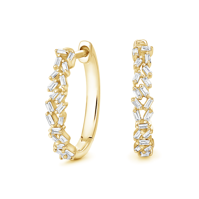 Top Twenty Anniversary Gifts - BAGUETTE DIAMOND CLUSTER HOOP EARRINGS (1/4 CT. TW.)