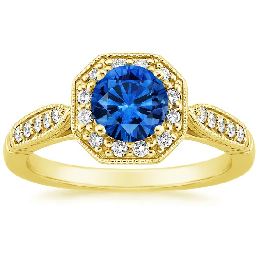 Sapphire Victorian Halo Diamond Ring in 18K Yellow Gold with 6mm Round Blue Sapphire