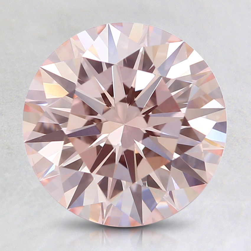 2.12 Ct. Fancy Light Orangy Pink Round Lab Created Diamond