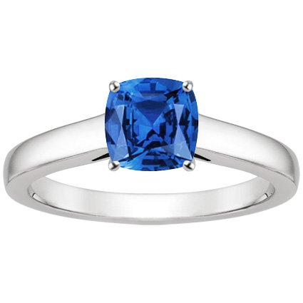 18K White Gold Sapphire Trellis Ring, top view