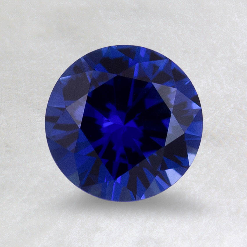6.5mm Super Premium Blue Round Sapphire, top view