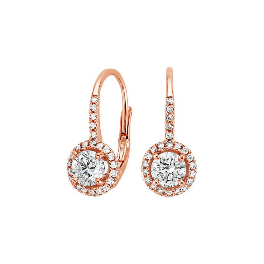 14K Rose Gold Halo Enchant Drop Earrings, top view