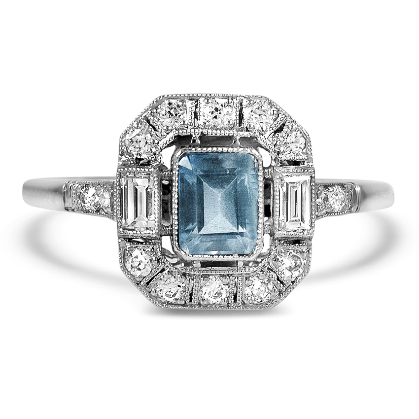 Art Deco Reproduction Aquamarine Vintage Ring