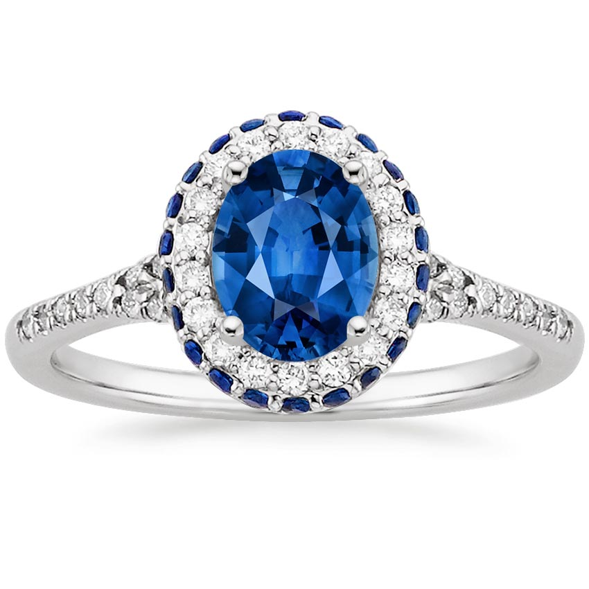 18K White Gold Sapphire Circa Diamond Ring with Sapphire Accents, top view