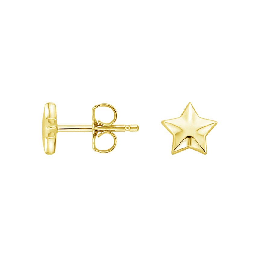 18K Yellow Gold Star Stud Earrings, top view