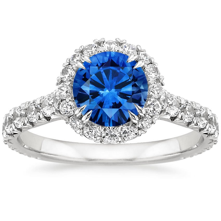 18K White Gold Sapphire Stella Diamond Ring, top view