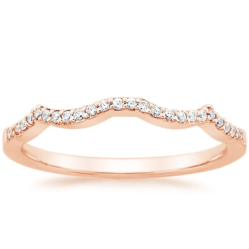 14K Rose Gold Infinity Contoured Diamond Ring, top view