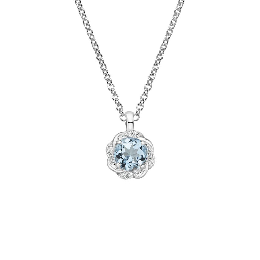 Oceana Aquamarine and Diamond Pendant in 18K White Gold