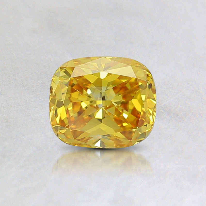 0.55 Ct. Fancy Vivid Orangy Yellow Cushion Lab Created Diamond