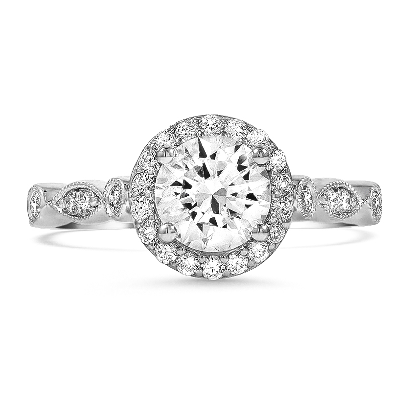 Custom Round and Marquise Milgrain Diamond Ring