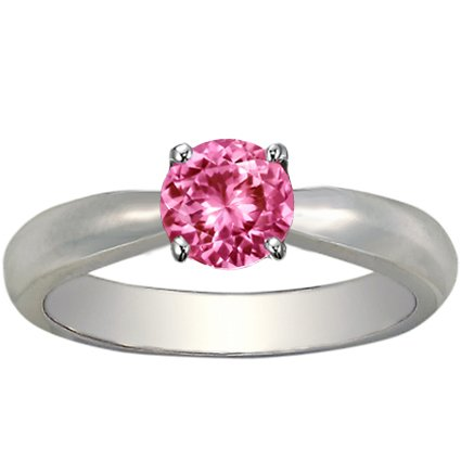 Sapphire Taper Ring in 18K White Gold with 6mm Round Pink Sapphire