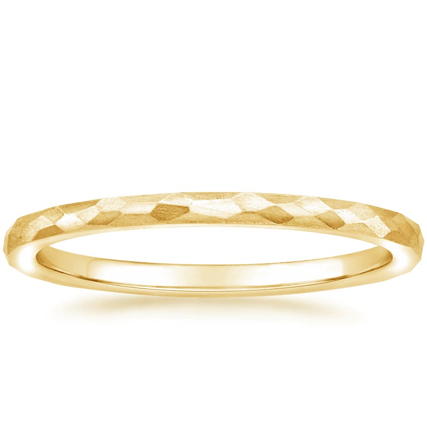 Yellow Gold Matte Hammered Petite Comfort Fit Wedding Ring