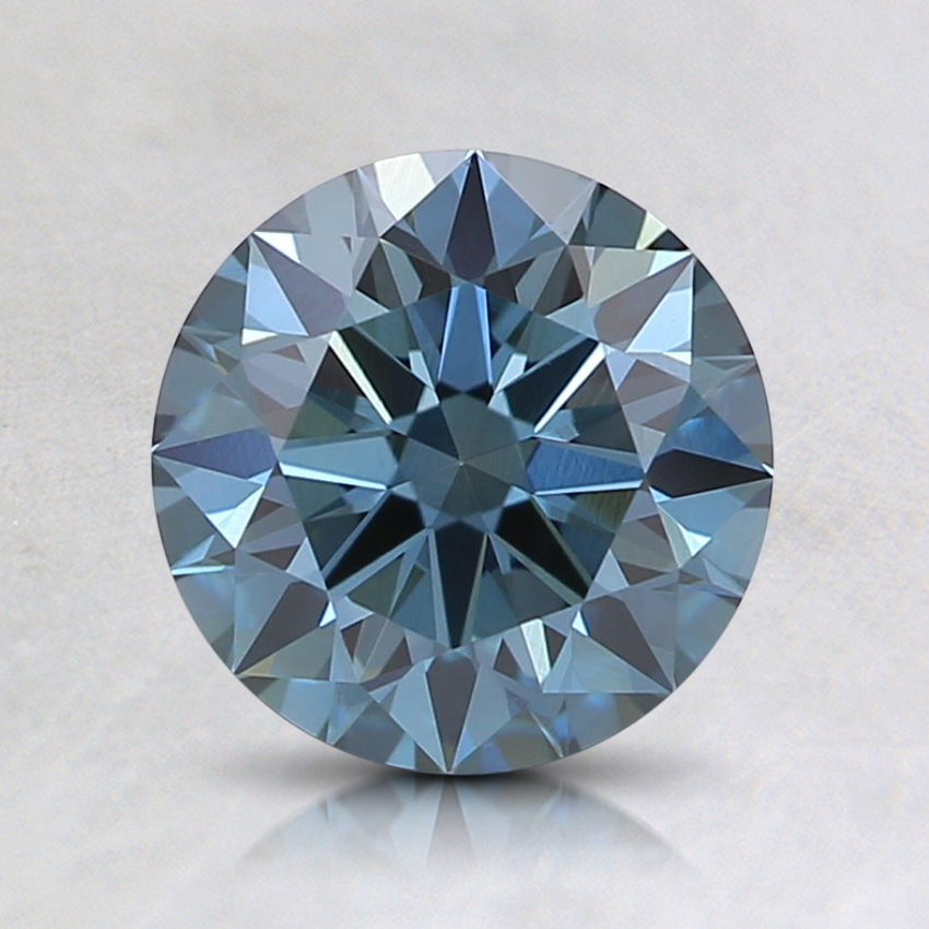 1.18 Ct. Fancy Intense Greenish Blue Round Lab Created Diamond