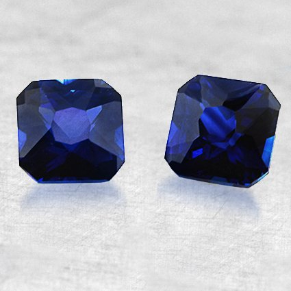 4x4mm Blue Radiant Sapphire Pair, top view
