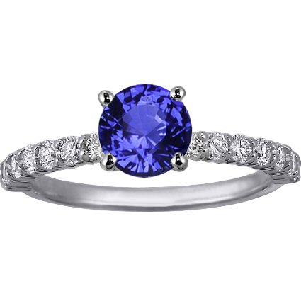 Sapphire Shared Prong Diamond Ring in 18K White Gold with 6mm Round Blue Sapphire