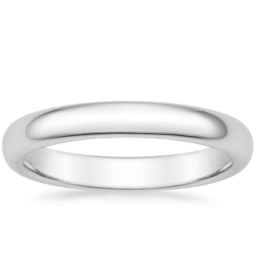 18K White Gold 3mm Comfort Fit Wedding Ring, top view