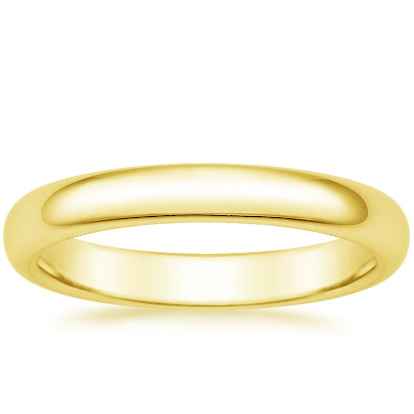 18K Yellow Gold 3mm Comfort Fit Wedding Ring, top view