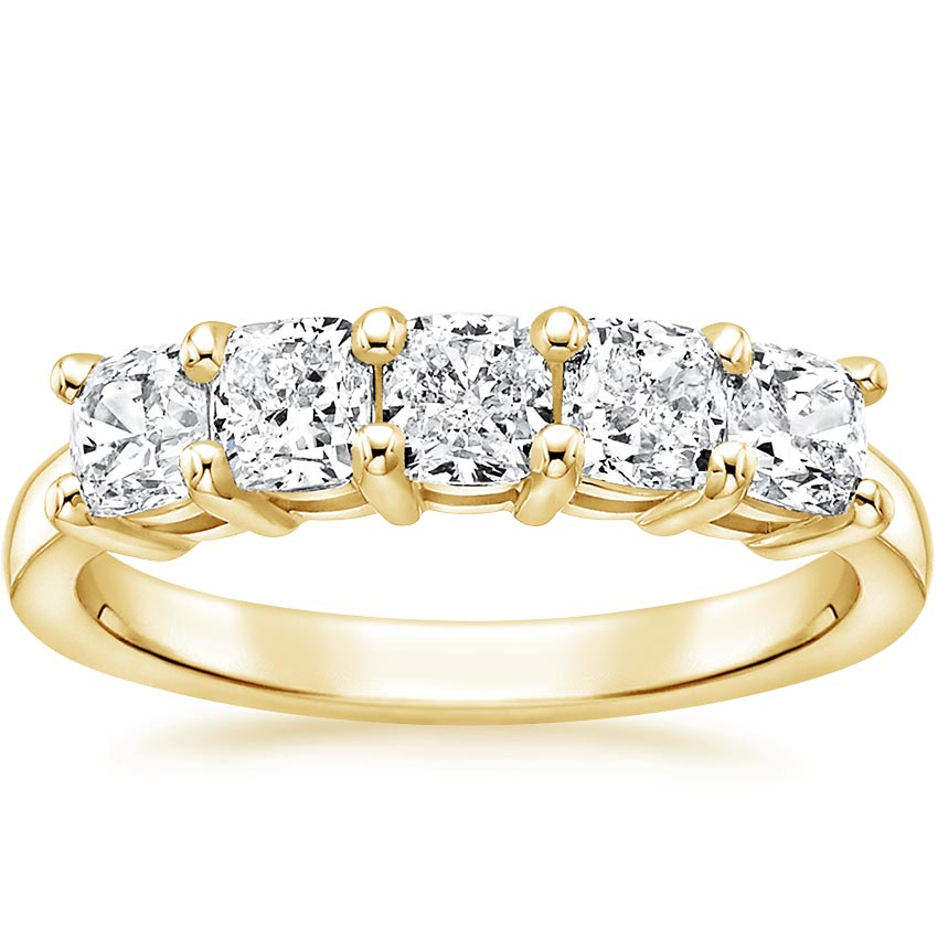 Yellow Gold Cushion Five Stone Diamond Ring (1 1/2 ct. tw.)