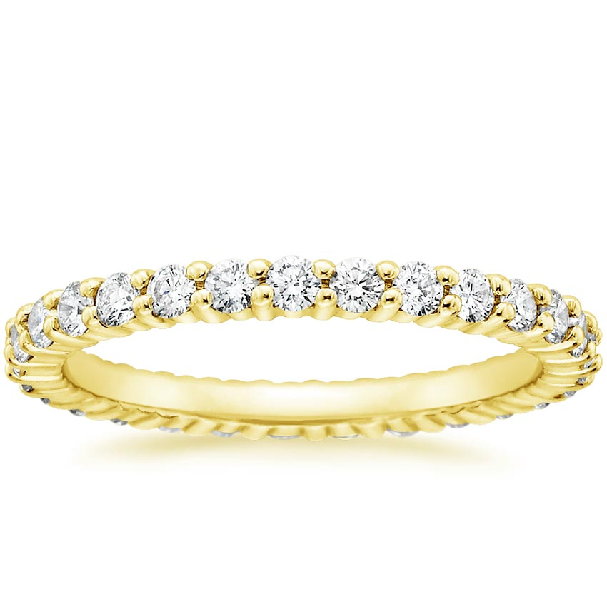 18K Yellow Gold Shared Prong Eternity Diamond Ring (7/8 ct. tw.), top view
