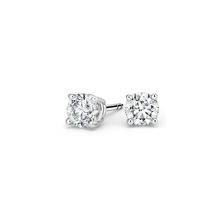 1//2ct Heart Created Diamond Stud Earrings 14K Solid Yellow Gold Solitaire Basket