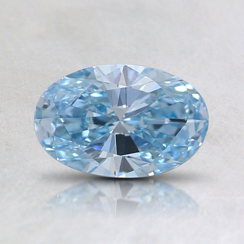 0.61 Ct. Fancy Intense Greenish Blue Oval Lab Created Diamond