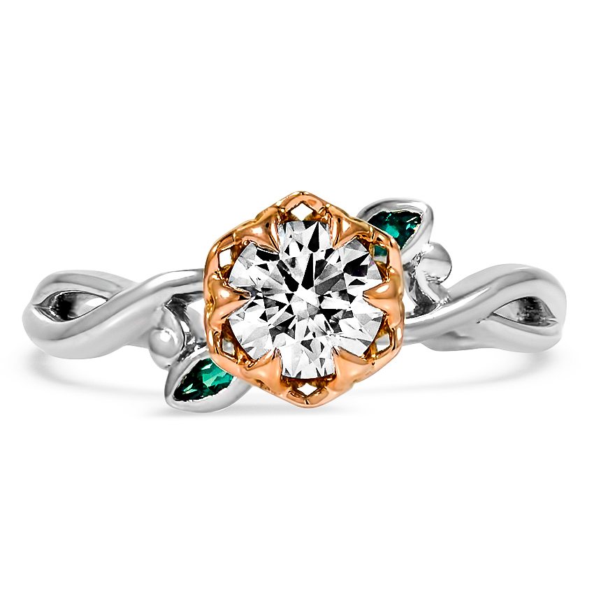 Custom Two-Tone Floral Diamond Ring with Emerald Accents