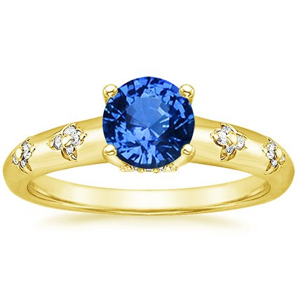 18K Yellow Gold Sapphire Blossom Ring, top view