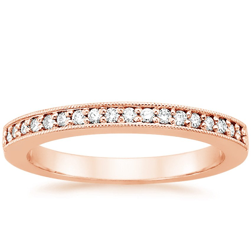 14K Rose Gold Pavé Milgrain Diamond Ring, top view