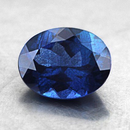 9.3x7.3mm Blue Oval Sapphire, top view