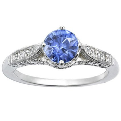 Platinum Sapphire Heirloom Ring, top view