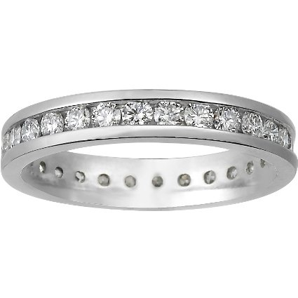 18K White Gold Channel Set Round Diamond Eternity Ring (1 ct. tw.), top view