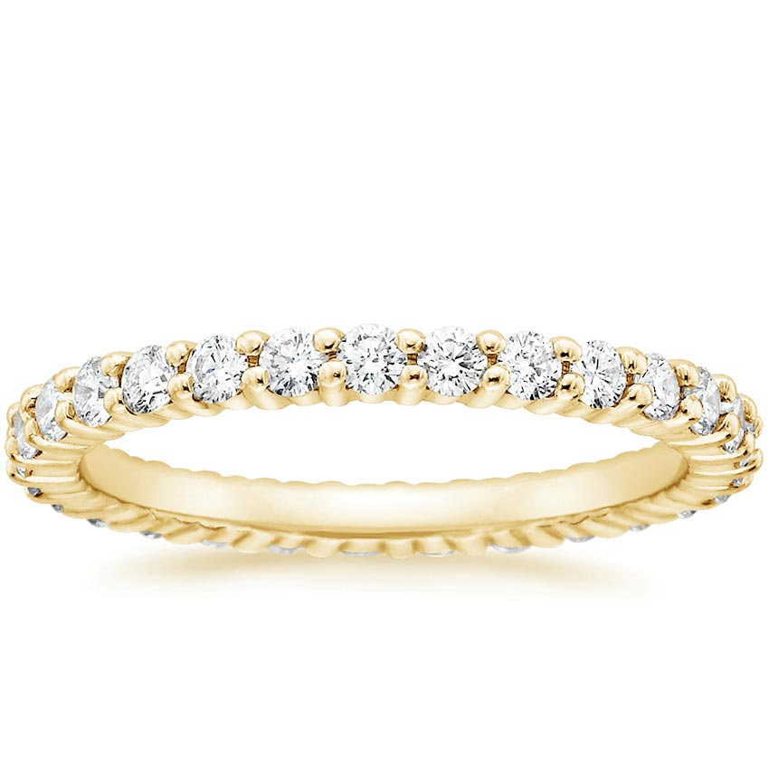 Yellow Gold Shared Prong Eternity Diamond Ring