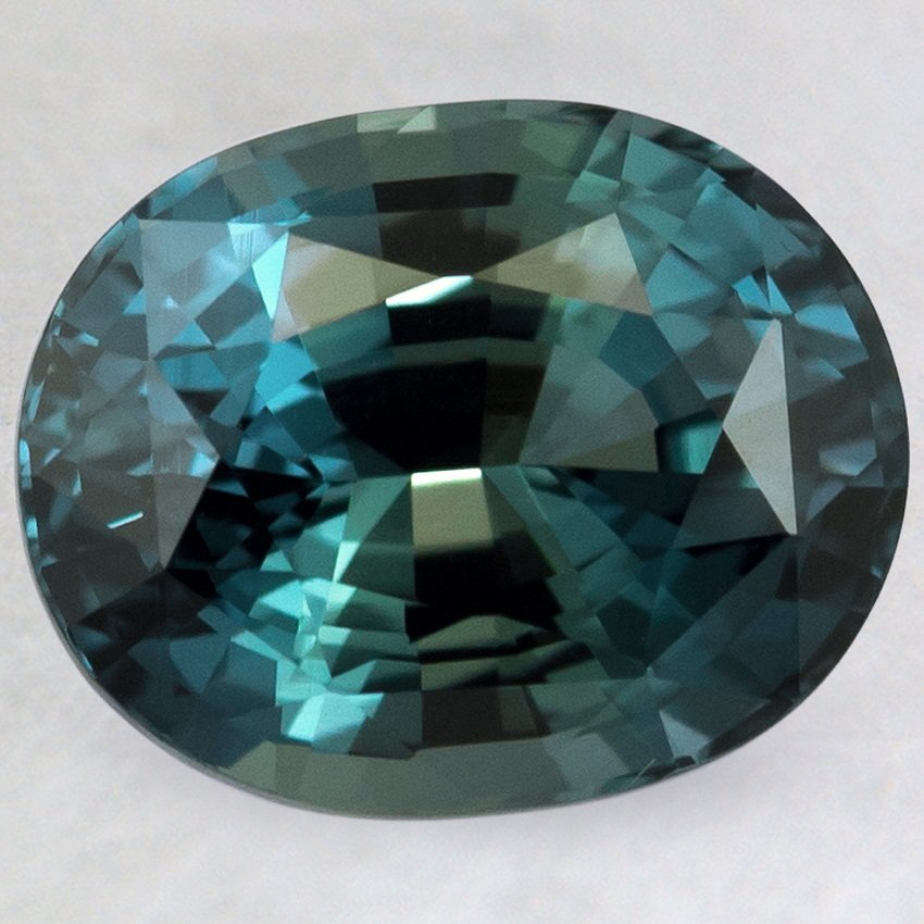 10x8mm Premium Teal Oval Sapphire, top view