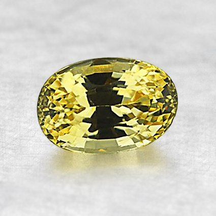 7x5mm Yellow Oval Sapphire, top view
