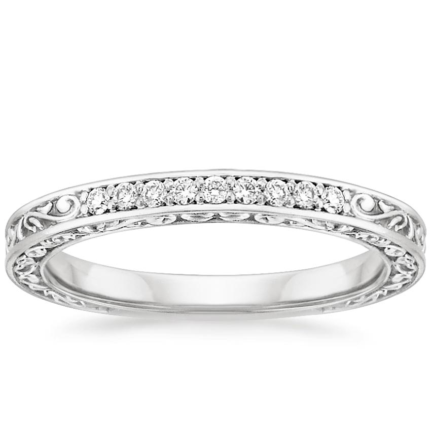 Delicate Antique Scroll Ring (1/10 ct. tw.) in Platinum