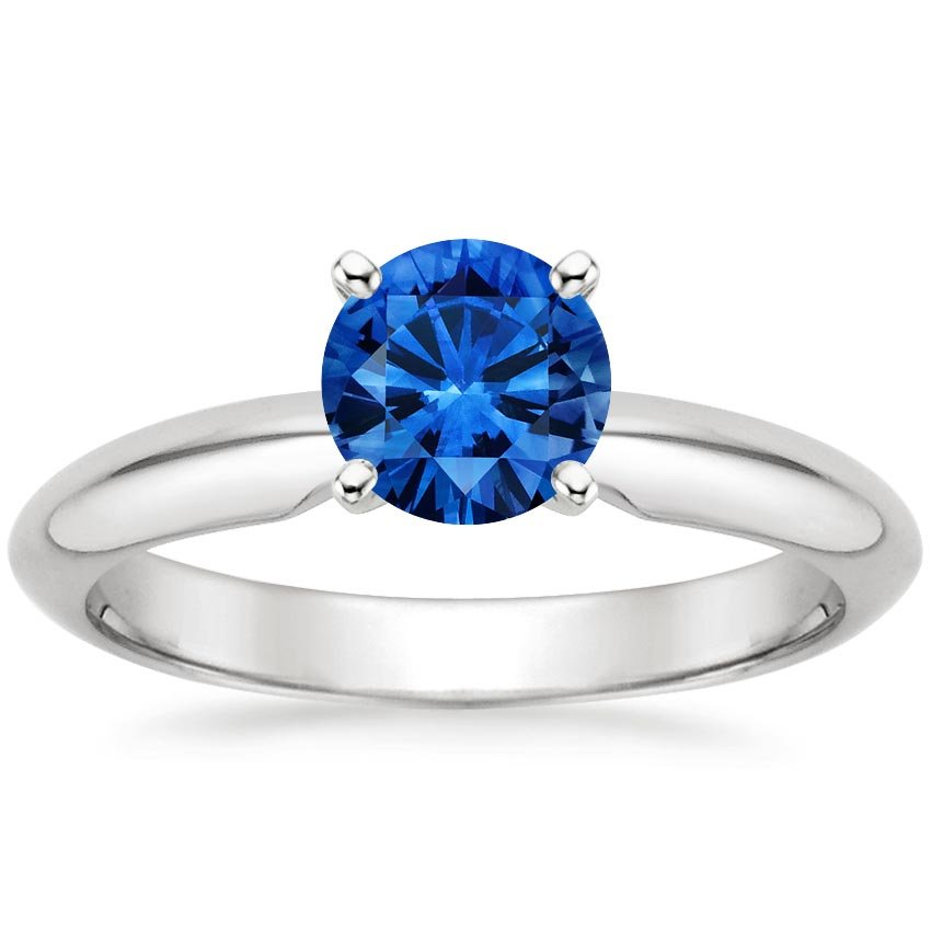 18K White Gold Sapphire Four-Prong Classic Ring, top view